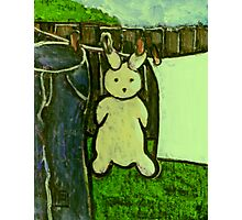 Rabbit on a washing line Photographic Print