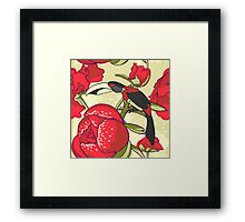 Seamless floral background with peonies bird toucan Framed Print
