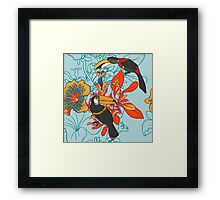 Seamless floral background with petunia toucan Framed Print