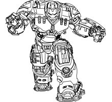 Tony Stark's Hulkbuster Suit Armour , Black outline no fill Photographic Print