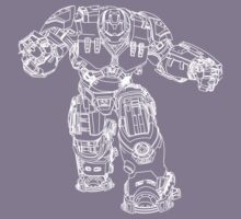 Tony Stark's Hulkbuster Suit Armour , White outline no fill Kids Clothes