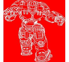 Tony Stark's Hulkbuster Suit Armour , White outline no fill Photographic Print