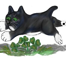 Kitten Leaps over a Four Leaf Clover by NineLivesStudio