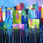 Colorful Abstract Cityscape by Pamela Burger