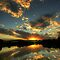 Reflections of Clouds in a River, Lake or Dam