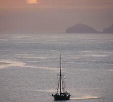 Sailing ship off Foula in St Ninians' Bay by matthewvl