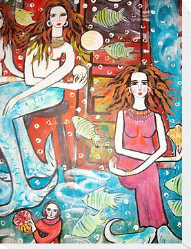 new painting- MermaidsTreasure House( a section) by catherine walker
