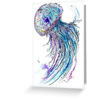 Jelly fish watercolor and ink painting Greeting Card
