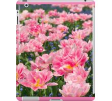 Blue forget-me-nots with pink tulips iPad Case/Skin