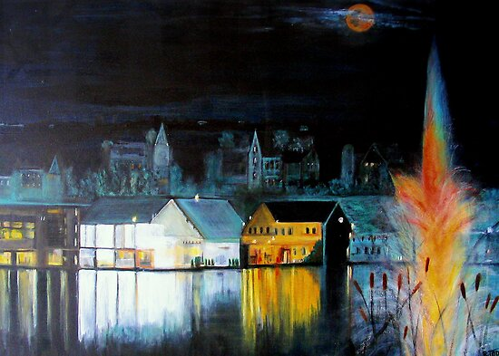 Lac ( Lake )  Bromont  Quebec  Nightscape            ( My Paintings )  by Rick  Todaro