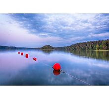 Red sunset buoys Photographic Print