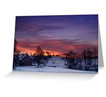 Farmstead in the evening Greeting Card