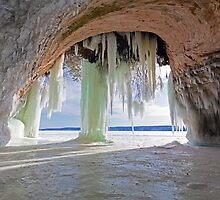 Cave and Ice Curtains on Grand Island near Munising Michigan by Craig Sterken
