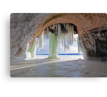 Cave and Ice Curtains on Grand Island near Munising Michigan Canvas Print