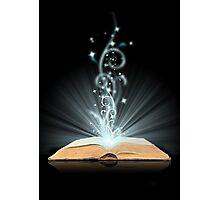 Open book magic on black Photographic Print