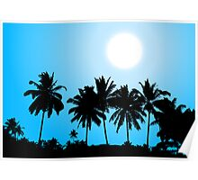 Tropical sunset, palm tree silhouette Poster