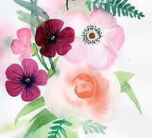 beautiful illustration of Hand Painted flower Wild  by OlgaBerlet