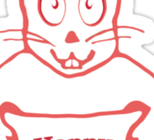 Cute Bunny Happy Easter Drawing in Red ans White Colors Sticker