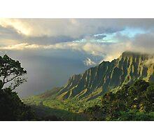 Kalalau Valley At Sunset Photographic Print