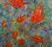Abstract flower garden, spring tulips, abstract art, original painting by artbykatsy