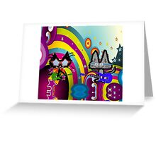 Hippie Cats Play Rock and Roll  Greeting Card