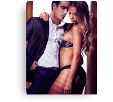 Sexy couple portrait woman in lingerie and man in suit art photo print Canvas Print