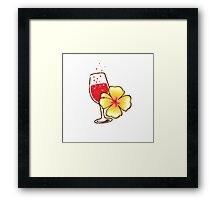 Holiday tropical drink red wine glass bubbles distressed version Framed Print