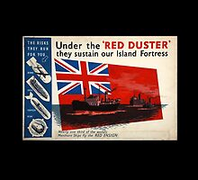 Red Duster, Red Ensign, Royal Merchant Navy, WWII poster by TOM HILL - Designer