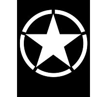Army, Star & Circle, Jeep, WWII, America, American, Americana,  USA, White on Black Photographic Print