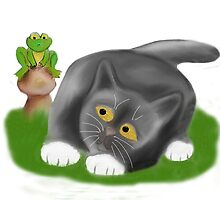 Toadstool Frog and Kitten by NineLivesStudio