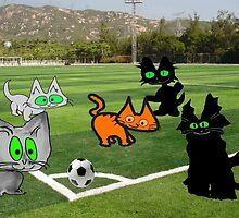 Cats Play Soccer by JohnsCatzz