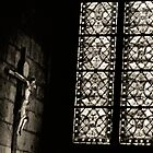Crucifix and Stained Glass, Notre Dame, 2008 by Jerry Carpenter