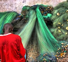 Repairing the Nets, Cape Coast, Ghana by Wayne King