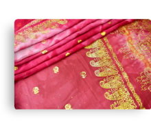 Traditional Pink Gold Asian Indian Sari Pattern Wedding Gown Canvas Print
