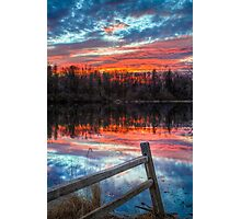 Sundown Pond and Fence Photographic Print