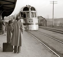 Streamlined Train at Station, 1940 by historyphoto