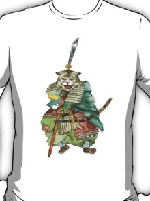 A Halfing Samurai Cat with a Spear and 2 Swords T-Shirt
