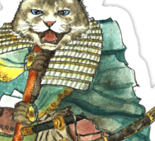 A Halfing Samurai Cat with a Spear and 2 Swords Sticker
