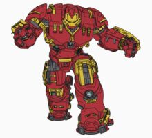 Tony Stark's Hulkbuster Suit Armour , Black outline with colour fill T-Shirt