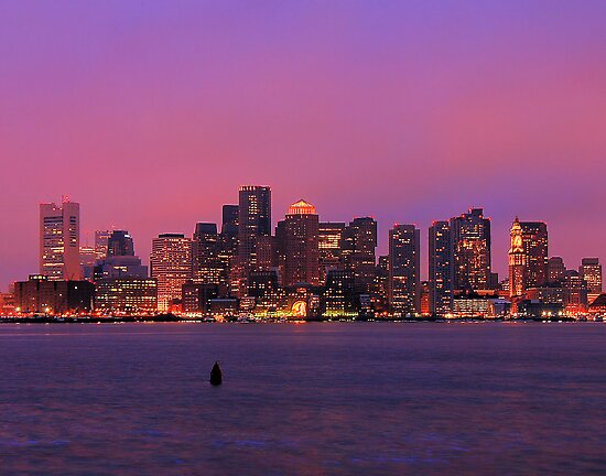 December Evening Boston Skyline by Mitchell Grosky