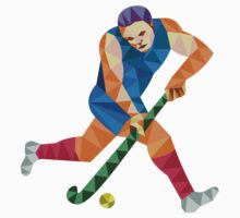 Field Hockey Player Running With Stick Low Polygon by patrimonio