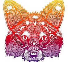 Rainbow Fox - Zentangle Inspired - Super Vibrant by janelledimmett