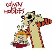 calvin and hobbes laughing together Photographic Print
