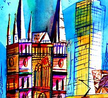 St. Paul Cathedral/ Federation Square- Melbourne Australia by givejoydesigns