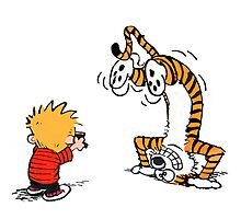Calvin and Hobbes take a picture Photographic Print
