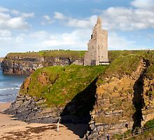 view of the  Ballybunion castle beach and cliffs by morrbyte