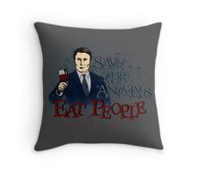 save the animals, EAT PEOPLE (7) Throw Pillow