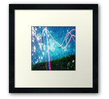 Abstract Colourful Landscape and Night Sky. Framed Print