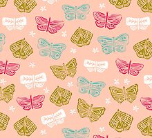 Butterflies - Pink and Green by Andrea Lauren by Andrea Lauren
