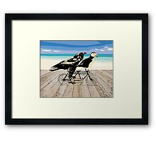 Puffin and Raven Framed Print